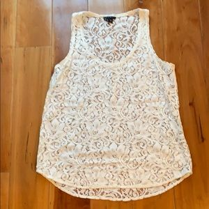 Theory white lace tank top